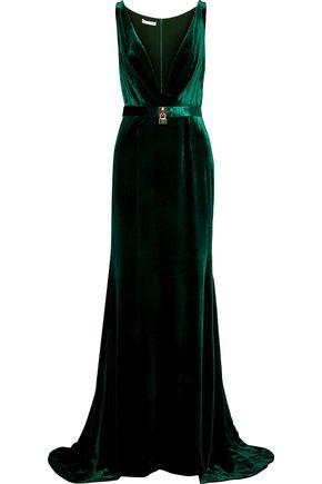 OSCAR DE LA RENTA Belted velvet gown