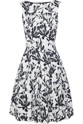 OSCAR DE LA RENTA Pleated two-tone cotton-blend floral-jacquard dress