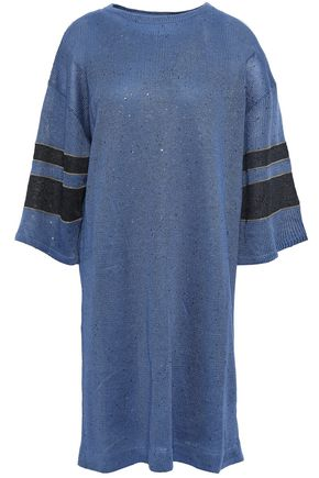 BRUNELLO CUCINELLI Striped sequined linen and silk-blend dress
