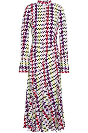 OSCAR DE LA RENTA Pleated printed silk-blend crepe midi dress