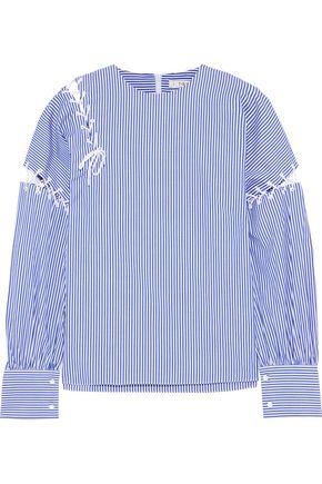 TIBI | Tibi Lace-Up Striped Cotton-Poplin Blouse | Goxip