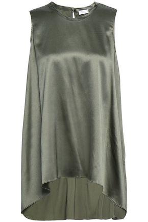 BRUNELLO CUCINELLI Asymmetric silk-blend satin top
