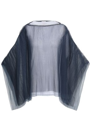 BRUNELLO CUCINELLI Bead-embellished cape-effect plissé tulle top