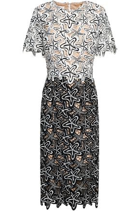 OSCAR DE LA RENTA Two-tone guipure lace dress