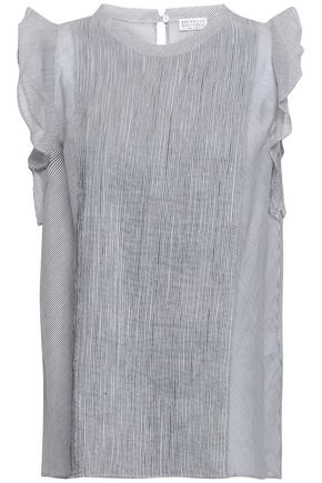BRUNELLO CUCINELLI Striped cotton and silk-blend organza top