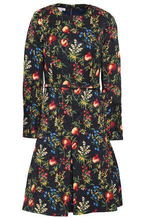 OSCAR DE LA RENTA Flared floral-jacquard dress