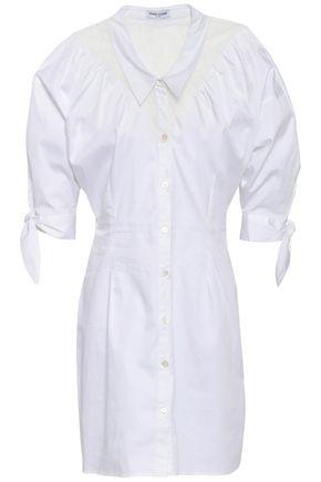 OPENING CEREMONY Lace-paneled stretch-cotton poplin mini shirt dress