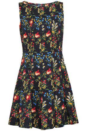 OSCAR DE LA RENTA Flared pleated floral-jacquard dress