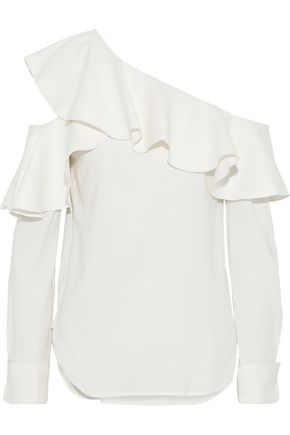 OSCAR DE LA RENTA Cutout ruffled silk-blend top
