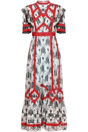 VALENTINO Lace-trimmed printed silk-voile midi dress