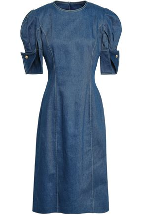 OSCAR DE LA RENTA Gathered denim dress