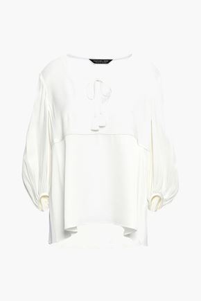 RACHEL ZOE Gathered satin-crepe blouse