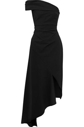 OSCAR DE LA RENTA One-shoulder asymmetric cady midi dress