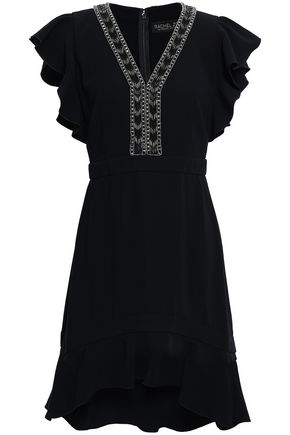 RACHEL ZOE Dena ruffle-trimmed embellished crepe mini dress