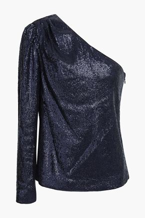 RACHEL ZOE One-shoulder sequined top