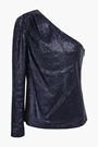 RACHEL ZOE Ira one-shoulder sequined stretch-jersey top