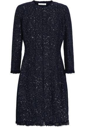 OSCAR DE LA RENTA Sequin-embellished wool-blend tweed mini dress
