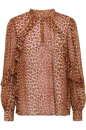 RACHEL ZOE Jayne ruffle-trimmed leopard-print silk-chiffon blouse