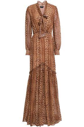 RACHEL ZOE Verushka pussy-bow leopard-print silk crepe de chine maxi dress