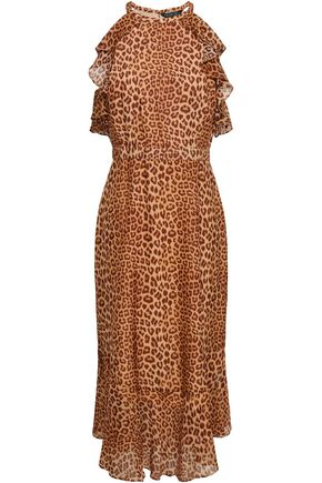 RACHEL ZOE Cape-effect leopard-print silk-voile dress