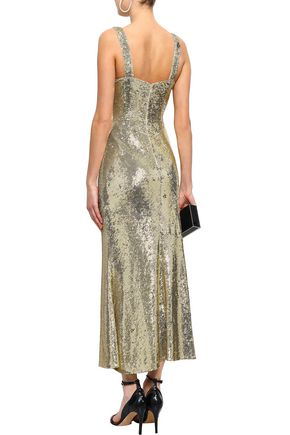 RACHEL ZOE Lola fluted sequined stretch-jersey maxi dress