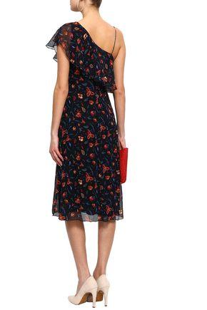 RACHEL ZOE Perla one-shoulder floral-print silk-georgette dress