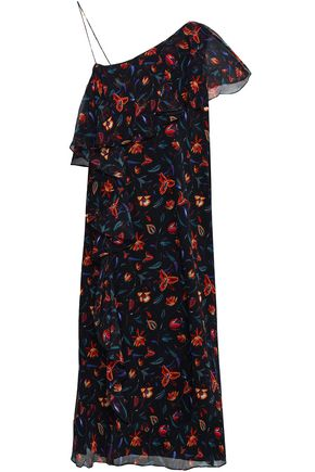 RACHEL ZOE Perla one-shoulder floral-print silk-georgette dress