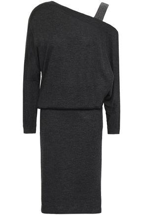 BRUNELLO CUCINELLI One-shoulder bead-embellished cashmere and silk-blend dress