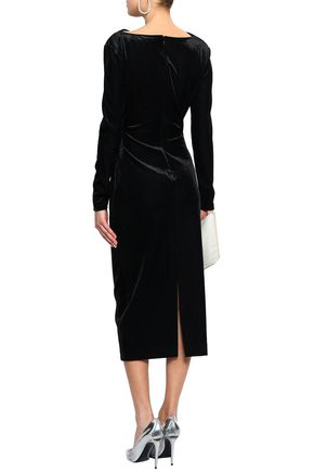 RACHEL ZOE Hudson draped corduroy midi dress