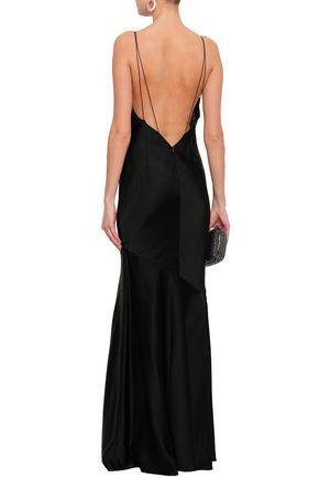 RACHEL ZOE Open-back crepe-satin maxi slip dress