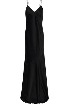 RACHEL ZOE Open-back crepe-satin maxi slip dress
