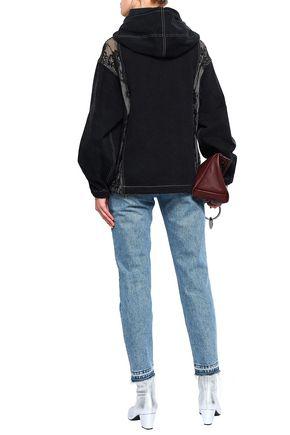 OPENING CEREMONY Lace-paneled denim sweatshirt