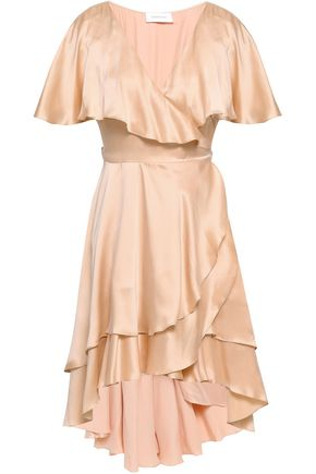 ZIMMERMANN Tiered ruffled silk-satin mini wrap dress