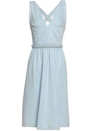 VALENTINO Braid-trimmed denim dress