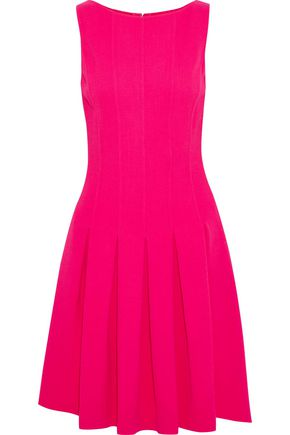 OSCAR DE LA RENTA Pleated wool-blend crepe mini dress
