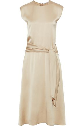 AGNONA Belted satin-crepe midi dress