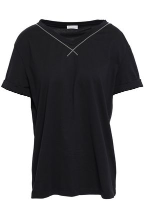 BRUNELLO CUCINELLI Bead-embellished cotton-jersey T-shirt