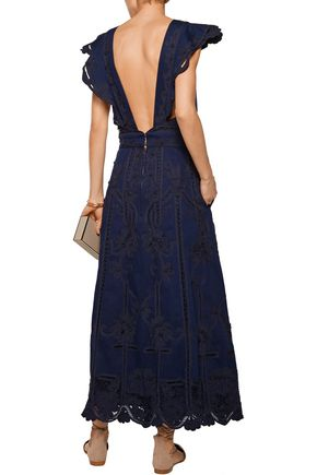 VALENTINO Open-back crochet-trimmed denim maxi dress