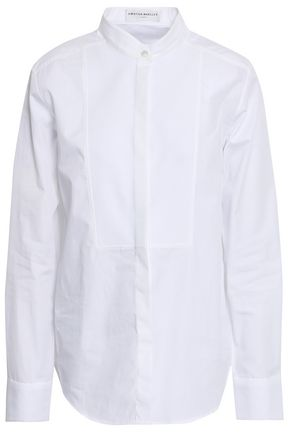 AMANDA WAKELEY Paneled cotton-poplin and piqué shirt