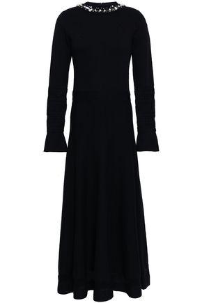 OSCAR DE LA RENTA Open knit-trimmed embellished wool and silk-blend maxi dress