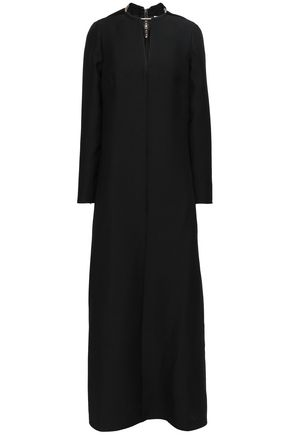 VALENTINO Embellished wool and silk-blend crepe maxi dress
