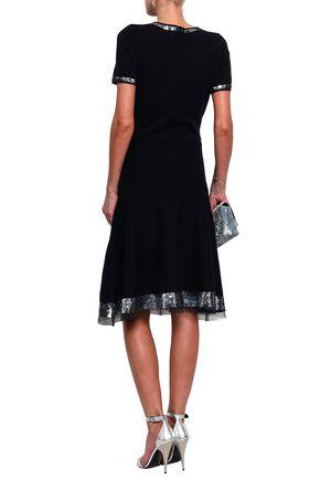 OSCAR DE LA RENTA Sequined tulle-trimmed wool dress