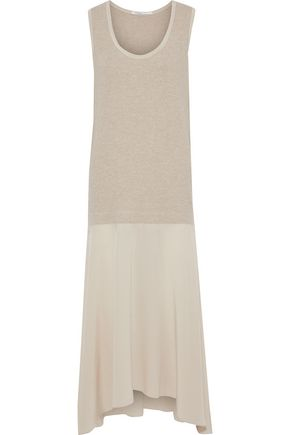 AGNONA Ribbed wool and washed-silk maxi dress