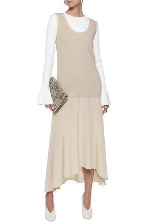 bb69642719 AGNONA Ribbed wool and washed-silk maxi dress