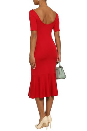 OSCAR DE LA RENTA Wool stretch-ponte fluted dress