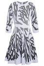 OSCAR DE LA RENTA Pleated jacquard-knit dress