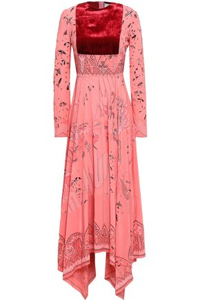 VALENTINO Velvet-paneled printed silk crepe de chine midi dress