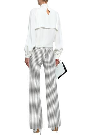 OSCAR DE LA RENTA Draped layered crepe blouse