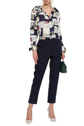 OSCAR DE LA RENTA Open-back draped printed silk-twill shirt