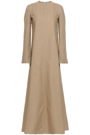 VALENTINO Flared cotton and linen-blend canvas maxi dress